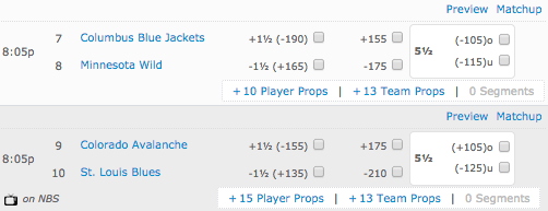Blues vs Avalanche - Bovada NHL Puck Betting Prices - Wild vs Blue Jackets